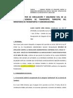 Apelacion Administrativa de Martín Niño Mtc Hoja de Ruta