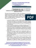 COMUNICADO PÚBLICO CONSEJO COMUNITARIO DE LA COMUNIDAD NEGRA DEL RIO NAYA