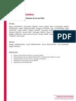 Compte rendu secrétariat fédéral 14/05/18