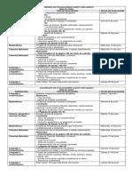 Calendario de Evaluaciones Cuarto Año Básico