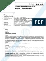 ABNT NBR 6027 2012 - Informação e Documentação - Sumário - Apresentação