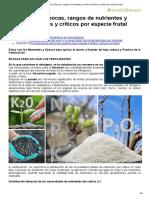 Fertilización_ Épocas, Rangos de Nutrientes y Niveles Máximos y Críticos Por Especie Frutal