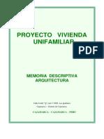Memoria Descriptiva Proyecto Vivienda