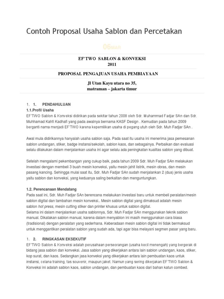 Contoh Proposal Usaha Sablon Dan Docx