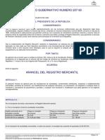 22001 Acuerdo Gubernativo 207-93 Arancel Rm