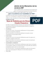 Bases de Medición de Los Elementos de Los Estados Financieros