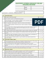 Welding Machine - Equipment Fitness Checklist