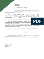 Affidavit of Loss Pawnshop Ticket