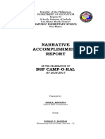NARRATIVE REPORT on the Celebration of BSP Camp-O-Ral and GSP Encampment MES