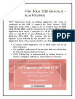 KVPY Application Form 2018 (Available) – Download Online Form Here