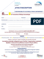 Bulletin d'inscription au colloque