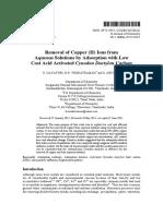 Remocion de Iones de Cu (II) de Soluciones Acuosas Por Adsocion Con Carbon Activado E J Chem 2011