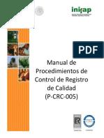 005 Manual de Procedimientos de Control de Registros de Calidad Versión003