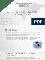 O Papel Das Organizações Internacionais Trabalho