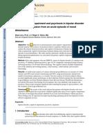 Deterioro Neurocognitivo y Psicosis en El Trastorno Bipolar Durante La Remisión Temprana de Un Episodio Agudo de Alteración Del Estado de Ánimo.