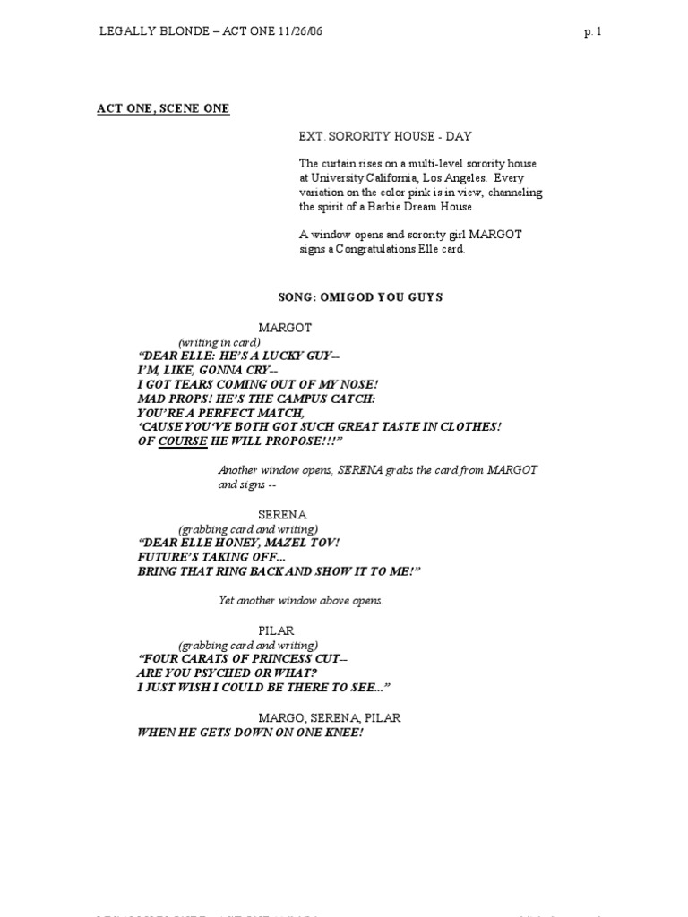 Script For Legally Blonde 90