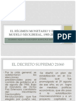 El Régimen Monetario y El Modelo Neoliberal,