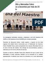 15-05-2017 Entregan Astudillo y Mercedes Calvo Reconocimientos a Docentes Por Más de 25 Años de Servicio.