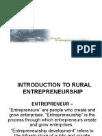 Introduction to Rural Entrepreneurship