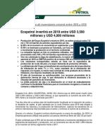 Comunicado Plan Inversiones 2018