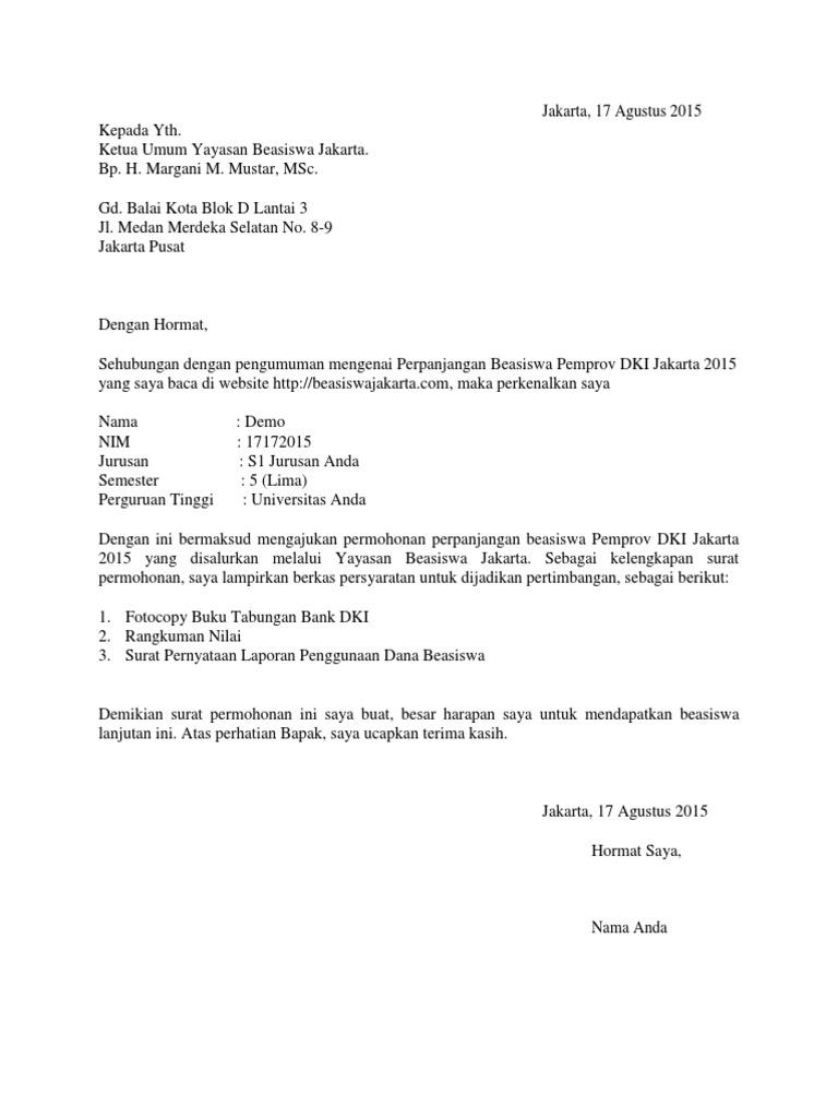 Contoh Surat Lamaran Perpanjangan Beasiswa Ybj 2