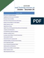 Confirmed Courses and Seminars - Oct Dec 17