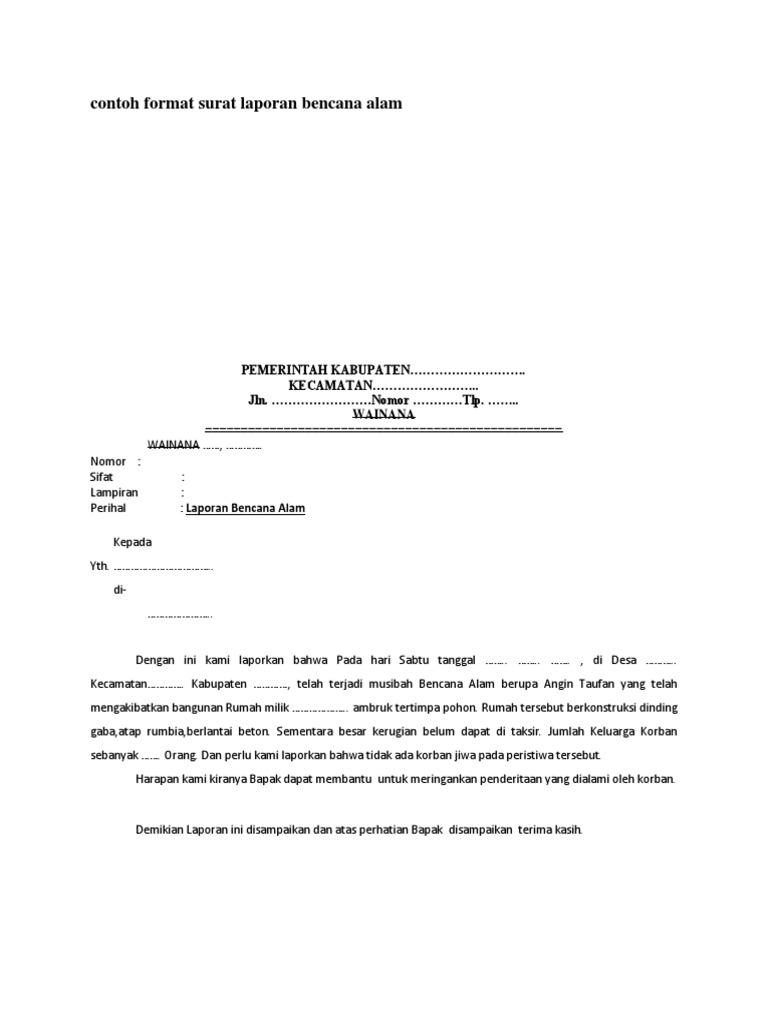 Contoh Format Surat Laporan Bencana Alam