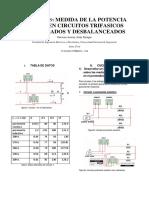 Medida de la potencia en un circuito trifasico desbalanceado