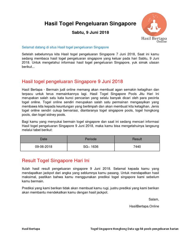 Hasil Togel Pengeluaran Singapore  Juni Hasil Bertapa