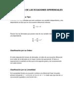 Clasificacion de Las Ecuaciones Diferenciales