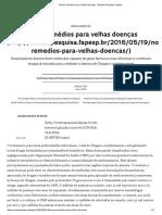 Novos Remédios Para Velhas Doenças _ Revista Pesquisa Fapesp