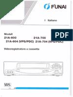 Manuale Funai VHS 21A-600 / 21A-604 / 21A-700 / 21A-704