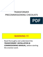 Power Transformer Pre Commisioning Checklist