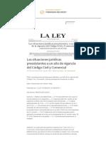 Las Situaciones Jurídicas Preexistentes a Un Año de Vigencia Del Código Civil y Comercial