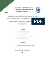 Rendimiento Académico de Los Estudiantes de Las Escuelas de Biología y Enfermería de La Universidad Nacional Pedro Ruíz Gallo11octreti