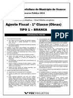 Fgv 2014 Prefeitura de Osasco Sp Agente Fiscal 1 Classe Obras Prova