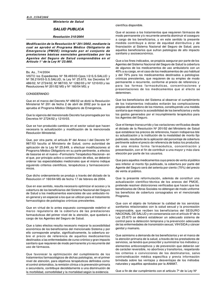 Resolucion 310 04 Medicamentos Con Receta Vacunas