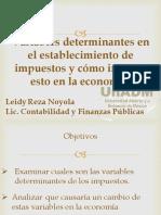 Presentación de Variables Determinantes en El Establecimiento de Impuestos y Cómo Impacta Esto en La Economía