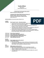 sandra wilson - teaching resume