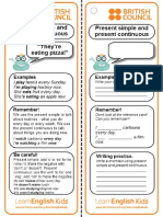 Grammar Practice Reference Card Present Simple and Present Continuous
