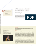 Blakemore & Mills, Is Adolescence a Sensitive Period for Sociocultural Processing