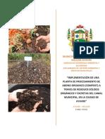 Plan de trabajo de compost a partir de residuos solidos organicos