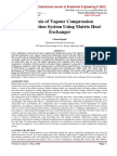 Analysis of Vapour Compression Refrigeration System Using Matrix Heat Exchanger
