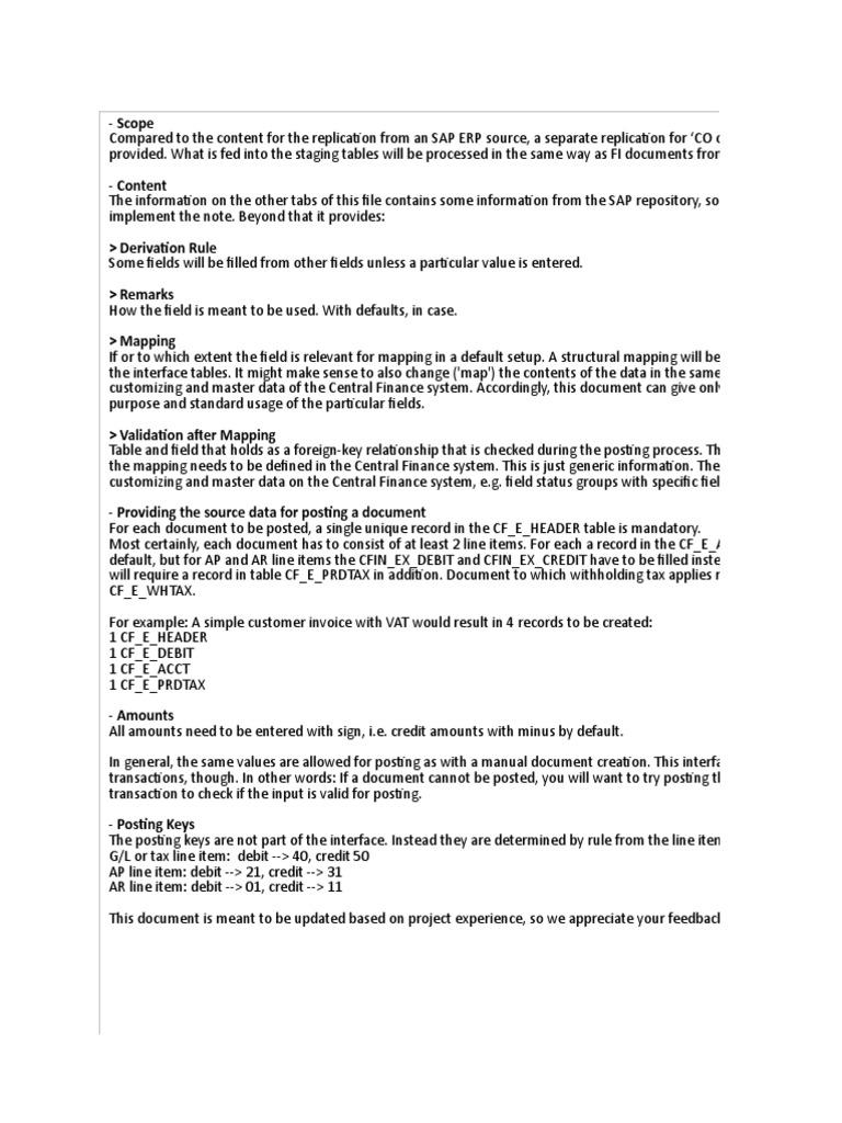 Interface Field Description | Debits And Credits | Invoice