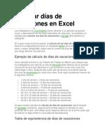 Calcular Días de Vacaciones en Excel