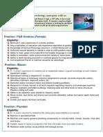 Job Vacancies at Kuredu-F&B Hostess, Mason, Plumber 100618