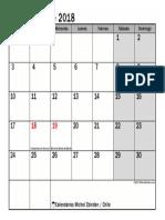 Calendario Septiembre 2018 Chile