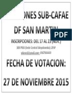 Elecciones Sub Cafae Df San Martin