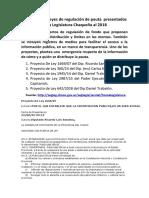 Proyectos de Leyes de Regulación de Pauta Chaco