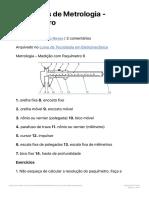 Exercícios de Metrologia - Paquímetro - exercícios sobre paquímetro (1)